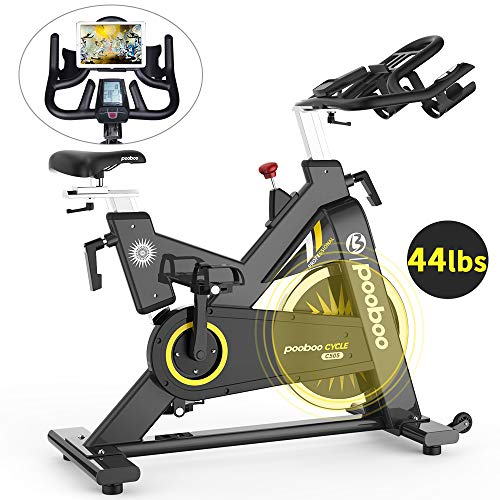 pooboo Exercise Bike Indoor Cycling Bike 44lbs Flywheel Magnetic Stationary Bike Commercial Belt Drive 330lbs Capacity with Muti-grip Handlebar