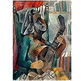 Pablo Picasso Mujer con una mandolina Art Print Poster grandes para pared pinturas al óleo lienzo para decoración del hogar Arte de la pared 60x90 cm x1 sin marco