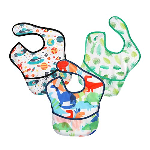 PandaEar 3 Pack Super Light Weight Baby Bib, Waterproof, Washable, Stain Oil and Odor Resistant 5-36 Months (Boy)