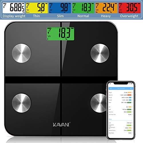 Rechargeable Smart Fat Scale, Bluetooth Bathroom Body...