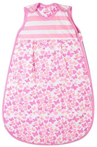 Snoozebag Baby Sleeping Bag Toddler Sleep Sack Blanket 18-36 Months 2.5 Tog 100% Cotton Front Zip Girls Butterflies and Hearts Design