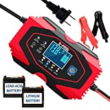 Car Battery Charger - 12V/6A 24V/3A Smart Automatic Battery Charger Automotive Trickle Charger for Car Truck Motorcycle Lawn Mower Boat Marine RV SUV ATV SLA Wet AGM Gel Cell Lead Acid Lithium Battery