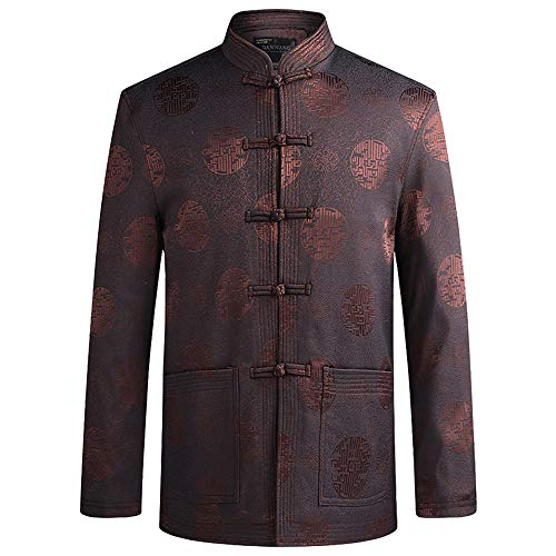 ZooBoo Tang Suit Kung Fu Jacket - Chinese Traditional Tai Chi Qi Gong Martial Arts Cloths Clothing Top (Coffee, L)