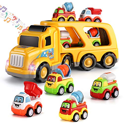 Temi 5-in-1 Friction Power Toy Vehicle in Carrier Truck, Steering Construction Truck with Lights & Siren Sounds, Small Bulldozer/Cement Mixer/Water Vehicle