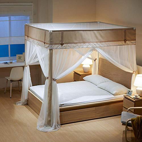 Mosquitera de estilo chino 1.8m cama hogar palacio piso tres puertas patrón de puerta-Té antiguo café ligero (café ligero)_Cama de 1.8 * 2.2 m