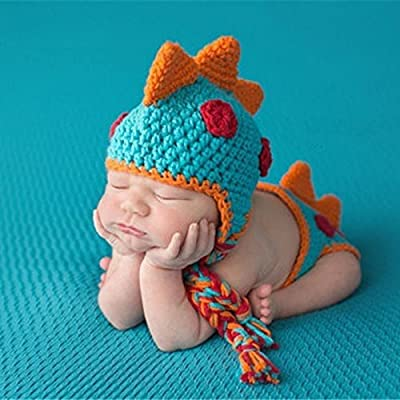 Crocheted Baby Boy Dinosaur Outfit Newborn Photography Props Handmade Knitted Photo Prop Infant Accessories (1-12 Months) by A-cool