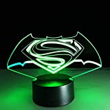 3D Illusion Night Light,Lámpara Estéreo Visual Colorida Superman Vs Batman Led Táctil Que Cambia La Lámpara 3D Lámparas Creativas De Ahorro De Energía Luz Usb