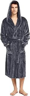 Mens Fleece Hooded Robe Terry Cloth Plush Soft Warm Long Bathrobe