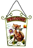 Bejeweled Display Fox w/Stained Glass Welcome Signs & Wall Art 22' H