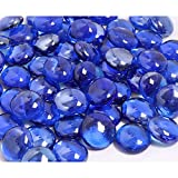 KIBOW 10-Pound Pack Fire Glass Beads Fire Glass Drops for Gas Fire Pit, 3/4 Inch-Cobalt Bl...