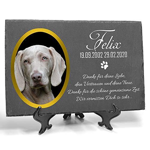 TULLUN Individueller Personalisiert Tiergrabstein Schiefer Gedenkstein + Ständer für Hund, Katze und andere Haustiere - Größe 20 x 30 cm - Personalisiert Text und Foto