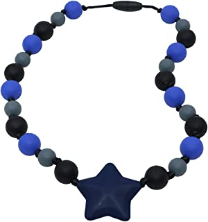 Sensory Oral Motor Aids Chew Necklace for boys girls, Silicone Navy Star Beads Chewlery Jewelry for Autism, ADHD, Baby Nursing or Special Needs Kids - Reduces Chewing Biting Fidgeting for mild Chewers