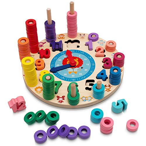Hi!Leon® 2-in-1 Montessori Spielzeug ab 3 Jahre zum fantasieanregenden Spielen und Zahlen Lernen, Waldorf Spielzeug, Lernuhr Kinder, Steckspiel Holz, Lernspiele ab 3 Jahre