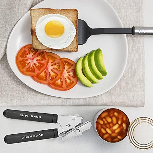 Home Hero 25pc Kitchen Utensil Set – Nylon & Stainless Steel Utensils – Non-Stick Kitchen Utensils with Spatula – Kitchen Gadgets Cookware Set – Kitchen Tool Set (25 Piece, Black)
