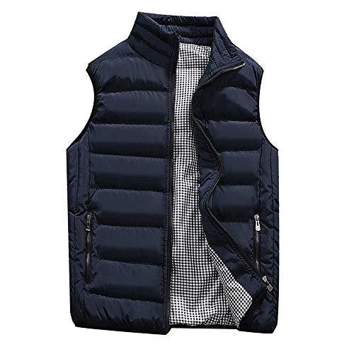KEERADS HOMME Veste Gilet Casual Chaud Doudoune Vest sans Manche Manteau Blouson Zipper Automne Hiver(FR-48/S,Bleu foncé)