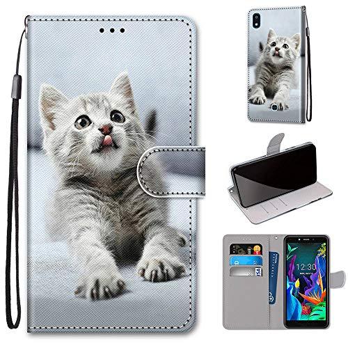 Ougger Hülle für LG K20 (2019) Handyhüllen Flip Hülle Cover Stylish mit Standfunktion & Magnetisch PU Tasche Schutzhülle passt für LG K20 (2019), Katze