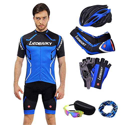 NBZH Radsport Jersey Set kurz Sleeve Pants Combo Set Bike Suit Clothing Spring & Sommer Luxury Geschenktasche Fahrrad Helmet/Fahrrad Glasses/Fahrrad Handschuh @ @,Blue,XXL