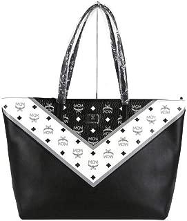 MCM Women's Black/White Leather Coated Canvas Medium Zip Shopper Tote MWP9SCV10BK001
