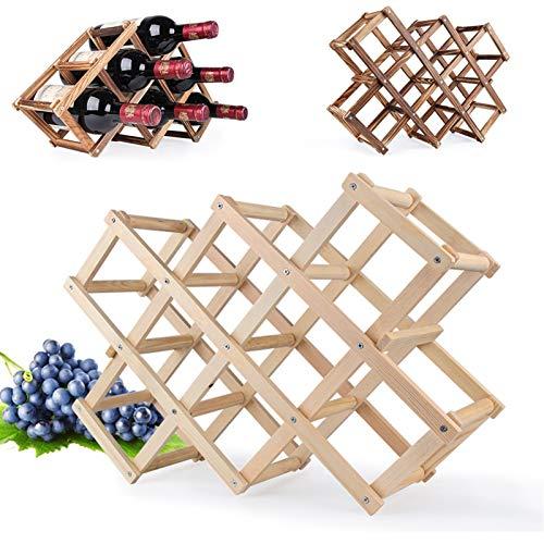 Porta Botella de Vino Calidad Estantes de vino Tenedor de la botella de vino de madera 10 soporte de botella Monte Barra de pantalla Estante Plegable Organizador de madera Racks de vino Regalo de los