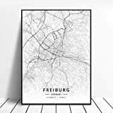 Leinwanddruck,Freiburg Deutschland Schwarz-Weiß-Stadt
