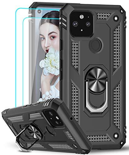 LeYi für Google Pixel 5 Hülle mit Panzerglas Schutzfolie(2 Stück),360 Grad Ring Halter Handy Hüllen Cover Magnetische Bumper Schutzhülle für Case Google Pixel 5 Handyhülle Schwarz
