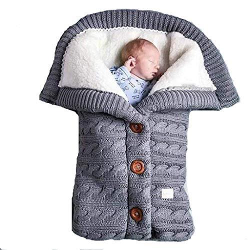 HEVÜY Baby Schlafsack für Kinderwagen Gestrickt Schlafsack Süße Samt Warme Tasche Pucksack Stricken Wickeln Abnehmbare Ärmel Strick Decke Schlafsack für Babys Neugeboren (Gray)