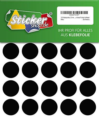 120 Klebepunkte, 30 mm, schwarz, aus PVC Folie, wetterfest, Markierungspunkte Kreise Punkte Aufkleber