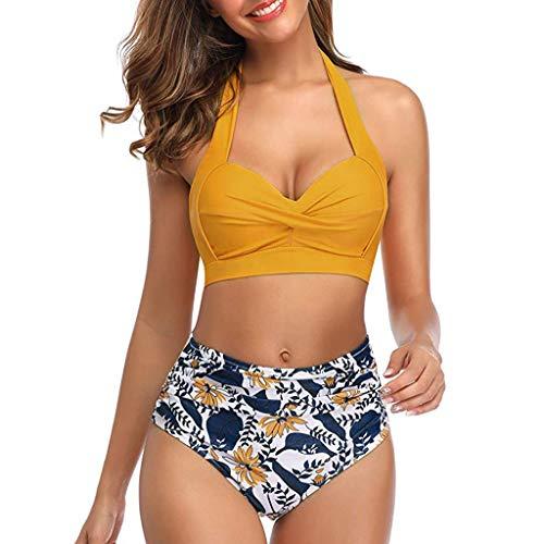 TWIFER Damen Vintage Badeanzug Zweiteiler Retro Halfter Geraffte Hohe Taille Print Bikini Set(a-Gelb,S)