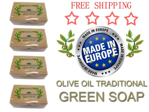 4 Pack, Pure Traditional Olive Oil Soap - 125 gr bar …