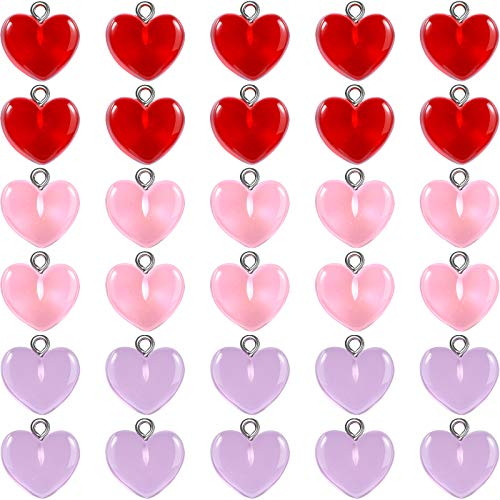 30 Pieces Gummy Heart Charms Pendant Cute Love Heart Charms Love Candy Pendant Lovely Heart Charms Keychains Earring Pendant Heart Shape Charms for Valentines Day DIY Jewelry Crafts