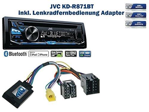 JVC KD-R871BT incl. Lenkrad Fernbedienung Adapter Renault verschiedene Modelle bis Bj. 2005
