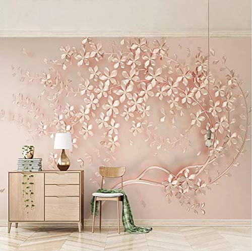 Rureng 3D Benutzerdefinierte Wandbild Tapete Rose Gold Blume Luxus Wohnzimmer 3D Stereo Tv Hintergrund Wandbilder Dekorative Tapeten Wohnkultur-150X120Cm