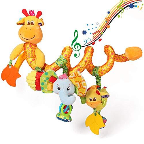 ORZIZRO Car Seat Toys, Baby Giraffe Plush Spiral Activity Musical Toys for Stroller Crib Bar Car Seat Mobile