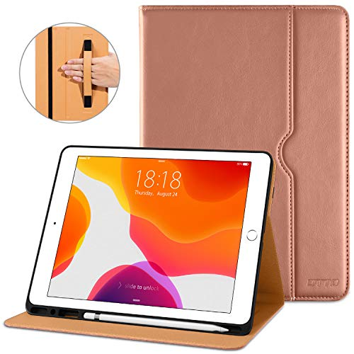 DTTO New iPad 7th Generation Case 10.2 Inch 2019, Premium Leather Business Folio Stand Cover with Built-in Apple Pencil Holder - Auto Wake/Sleep and Multiple Viewing Angles - Rose Gold