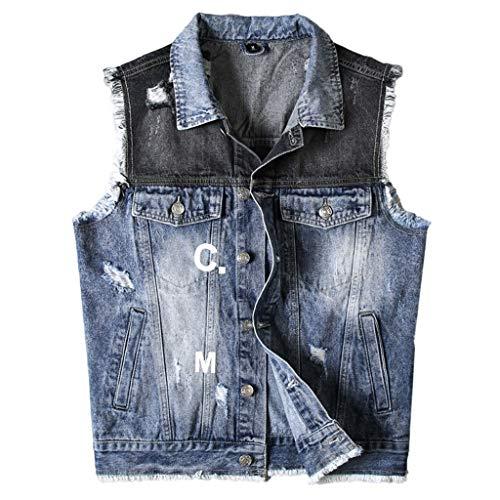 Vest Denim Vest Mannelijke Licht Kleur Persoonlijkheid Gat Slijpen Borstel patch Retro Mode Trend Street Punk Jeugd Knappe Paar Mouwloos Cowboy Gilets