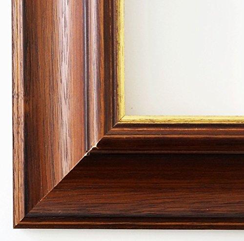 Cornice portafoto ACTA marrone oro 6,7, Cornice a giorno con vetro museale (protezione UV 45% - antiriflesso), marrone, 105 x 140 cm