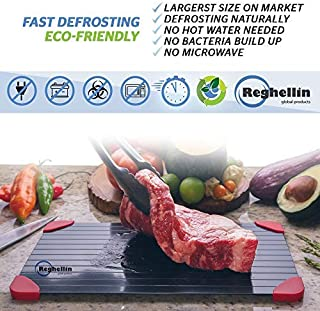Fast Defrosting Tray For Frozen Meat, Fish, Chicken. Thaw Your Steak Quickly, Larger Size 12 X 8 Inch. No Electricity, Microwave or Hot Water. Cast Aeronautical Aluminum Alloy Hdf.