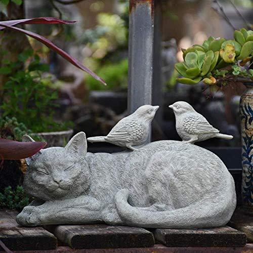 DNSJB Tuinornamenten Vintage Kitten en Vogel Sculptuur Waterdichte Hars Tuinbeeld voor Yard Landscape Gazon Decoratie Tuinieren Ambachten Gift - 29 * 17 * 16cm