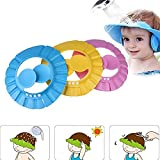 Duschhaube Kinder,3 stücke Einstellbare Baby Duschhaube Baby Shampoo Cap,Duschvisier Weiche Ohrenklappe Hut für Kleinkind Babypflege