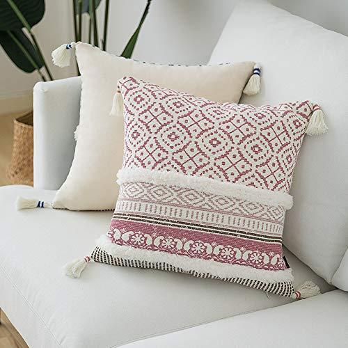 Fundas de almohada para sofá o cama de Marruecos, 100% algodón bohemio, fundas de almohada cuadradas, fundas de almohada tejidas con borlas, fundas de cojín tribales bohemias para granja, 45,7 x 45,7 cm, color rosa