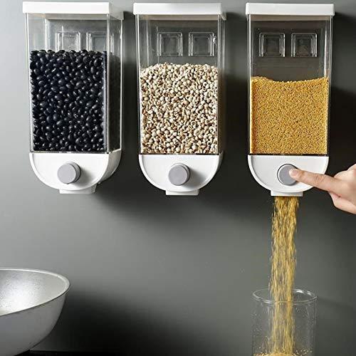 HLJS Müslispender Wandmontage Cerealienspender Lebensmittelspender Einzelspender Müsli Cornflakes Cerealien Sojabohnen Dispensierbehälter, Küche Lebensmittelbehälter, Weiß Transparent - 1000ML/1500ML