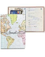 kwmobile Set de 1x Fundas Protectoras de Pasaporte - Protectores de Pasaporte con diseño 3D Mapa Mundial - con Espacio para Tarjetas