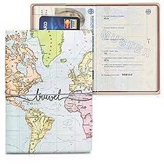 Idea Regalo - kwmobile Custodia compatibile con passaporto - Porta passaporto in design 3D - Con chiusura di sicurezza ad elastico - Protezione per documenti - nero/multicolore