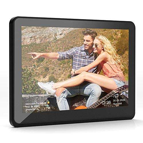 CAMKORY WiFi Digital Picture Frame with Full HD IPS Touch Screen Display - 8 Inch LED Picture Frame Support Auto Rotate 16GB Internal Memory, Digital Photo Album with Calendar, Alarm, USB Port - Black Materials Presentation Storage