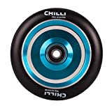 Chilli Pro Scooter Wheels 110mm Urethane - Coast Pro Scooter Replacement Wheels - Blue Pro Scooters Wheels & ABEC 9 Bearings w/Aluminum Hubs - Freestyle Stunt Scooter Wheel - (1 Single Wheel)