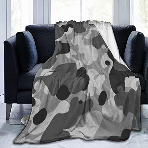 Bernice Winifred Camuflaje Negro y Gris Patrón de Camuflaje Militar Ultra-Suave Manta de Micropolar Hecha de Franela Anti-Pilling, más cómoda y cálida.80x60