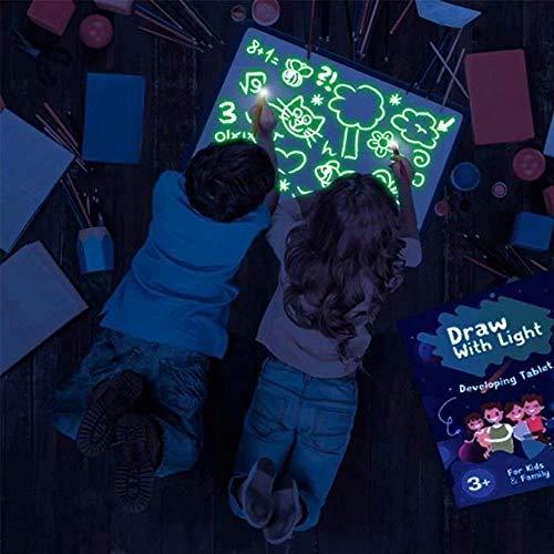 Crystally Tablero de Dibujo con Luz en Oscuridad Papel de Dibujo Tablero de Dibujo 3D Luminoso Fluorescente de Color Portátil Tableta de Dibujo Adecuada para el hogar, Escuela, Oficina