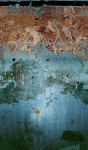 Fototapete Blau, Kupfer - Vlies, Used Look, Vintage, Rost - für Schlafzimmer, Wohnzimmer, Küche - Made in Germany - Neu - 2,70m x 1,59m - 47227