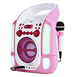 auna Kara Illumina - Equipo de Karaoke , Reproductor de CD y MP3 , Puerto USB , Entrada AUX , Salida de Video RCA , 2 x micrófonos 6,3 mm , Iluminación LED , Regulador Volumen , Color Rosa