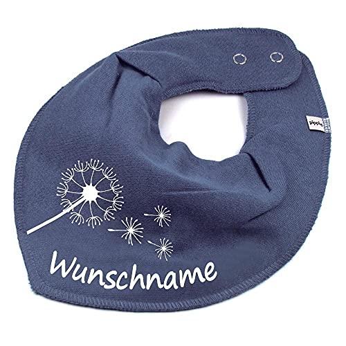 HALSTUCH PUSTEBLUME mit Namen oder Text personalisiert dunkelgrau für Baby oder Kind